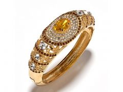 Sanaa Creations Gold Plated Yellow Stone With Cz Fancy Kada For For All Occasions Free S-(Product Code-1KD32)