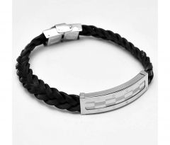 Sanaa Creations Silver Buckle Mens Bracelet Twisted Black Wrist Belt-(Product Code-1MB11)