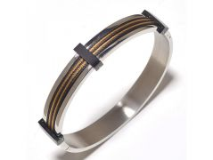 Sanaa Creations The Jewelbox Stainless Steel Gold Rhodium Plated Free Size Kada Bracelet For Men-(Product Code-1MB35)
