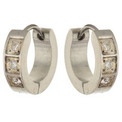 Sanaa Creations Silver Plated Alloy Hoop Earrings for Men