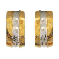 Sanaa Creations Gold and Silver Gold Plated  Alloy Hoop Earrings for Men