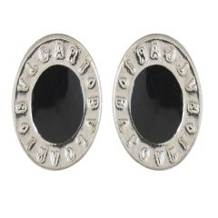 anaa Creations Black and Silver Alloy Stud Earrings for Men