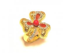 Sanaa Creations Gold Plated Ring With Cz Flower Built In Design For All Occasions-(Product Code-1RN183)
