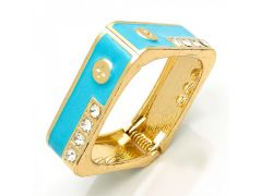 Sanaa Creations Gold Plated Kada With Center Cz And Blue Enamel For For All Occasions-(Product Code-1KD16)