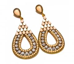 Sanaa Creations Multi Color Stones Drop Shape Gold Plated Earring-(Product Code-1ERN20)