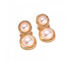 Sanaa Creations White Pearl With Cz Studded Gold Plated Earring-(Product Code-1ERN36)