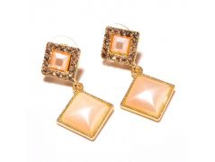 Sanaa Creations Light Color Cz Studded Tops Square Shape Gold Plated Designer Earring-(Product Code-1ERN39)