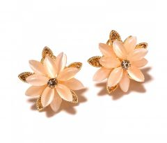 Sanaa Creations Flower Shaped Bunch Stone Gold Plated Designer Earring-(Product Code-1ERN45)