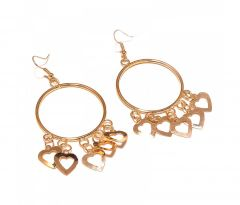 Sanaa Creations Gold Plated Dangler Circle With Small Hearts Earrings-(Product Code-1ERN05)