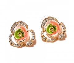 Sanaa Creations Flower Ennamelling Multi Color Gold Plated Designer Earring-(Product Code-1ERN84)