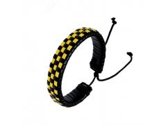 "Sanaa Creations Groove Of Sporting Men""s Fashion Accessory With A Chequered Black-Yellow Band Bracelet-(Product Code-1MB125)"