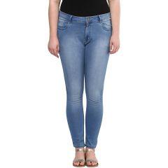 Jeans (Women's) - ZUSH Light Blue color Mid Rise plus sized women's cotton jeans
