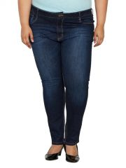 ZUSH Mid Rise Regular Fit Dark Blue Color Denim Fabric Plus Sized Jeans For Womens-ZU1034