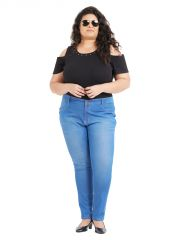 ZUSH Mid Rise Regular Fit Medium Blue Color Cotton Blend Fabric Plus Sized Jeggings For Womens(Code-ZU1064)