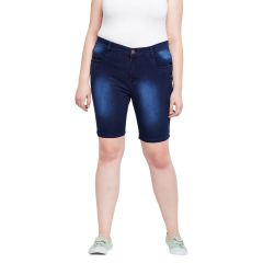 Zush Stretchable Regular Fit Dark Blue Cotton Blend Plus Size Denim Shorts For Women(Code-ZU1107)