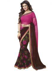 Creative Fashion Ayesha Takia Bollywood Replica Coffee Printed Saree (product Code - Ayesha Takia Bollywood Replica_coffee)