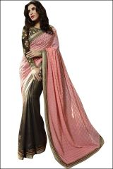 Pushty Fashion Peach and Brawn Embroidered Georgette Saree Z-225