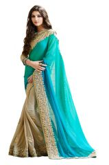 Pushty Fashion Blue and Beige Embroidered Georgette Saree Z-234