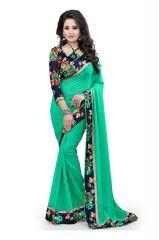 Sarees (Misc) - Pushty Fashion Light Green Lace work Dani Saree Z-241