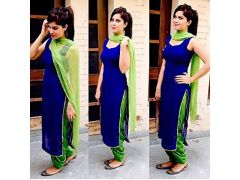 Pushty Fashion Blue and Green Cotton Dress Material ADN-HP-277