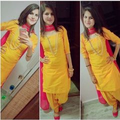 Pushty Fashion Yellow and Pink Cotton Dress Material ADN-HP-279