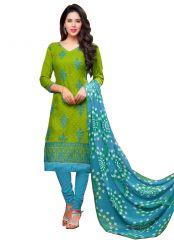 Pushty Fashion Green Color Jaquard Cotton Semi Stitched Dress PF-MNS-187