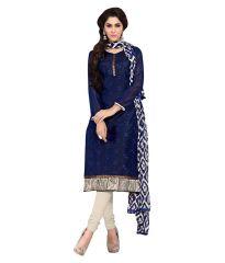 Pushty Fashion Blue Color Chanderi Cotton Semi Stitched Dress PF-MNS-A6