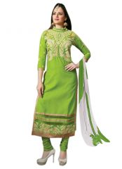 Pushty Fashion Green Embroidered Straight Dress Material ADN-PE1-33