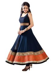 Adorn Fashion Heavy Latest Blue Long Semi Stitched Anarkali Suit