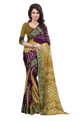 Pushty Fashion Green and Purple Bandhani Silk cotton Saree SC-MK-001