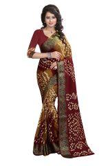 Pushty Fashion Maroon Bandhani Silk cotton Saree SC-MK-002