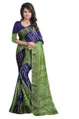 Pushty Fashion Light Green and Blue Bandhani Silk cotton Saree SC-MK-003