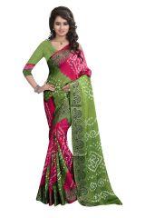 Pushty Fashion Green and Pink Bandhani Silk cotton Saree SC-MK-004