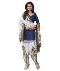 Aracruz Women's Designer Party Wear Printed Blue Cotton Unstitched Dress Material - Monika100