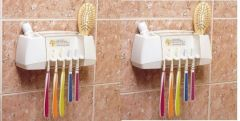 Set Of 2 Wall Mounted Hygenic Toothbrush And Accessory Holder With Lid