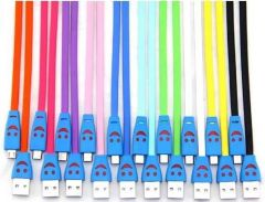 Genuine Micro USB Smiley Lightening Data Cable For Samsung Galaxy Pocket S5300 / Galaxy S Duos 2 S7582 / Galaxy S Duos S7562   Free Shipping