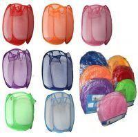 2 PC Set Folding Laundry Bag Basket Clothes Storage Bags Hanger 40x40x70 Cm