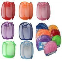 4 PC Set Folding Laundry Bag Basket Clothes Storage Bags Hanger
