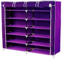 Storage - Unique Cartz Fancy 6 Layer Double Purple Shoe Rack Organizer Polyester Standard Shoe Rack (6 Shelves)
