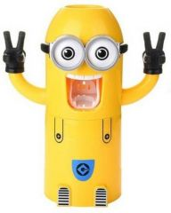 """""""tuelip Cute Two Eyes Despicable Me Minion Automatic Toothpaste Dispenser Plastic Toothbrush Holder (yellow, Wall Mount)"""""""