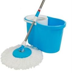 Home Basics Easy Spin Mop With Wheels And Stainless Steel Bucket With 2 Mop Head