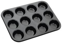 Unique Cartz Premium Black Aluminium 12-Slot Cup Shape 3D Nonstick Muffin/ Cup Cake Pan / Mould - (Medium Size)
