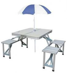 Home Basics 4 Seats Portable Folding Aluminium Picnic Table With Movable Big Umbrella