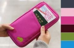 Credit Card ID Holder Zipper Wallet-multi Purpose Travel Wallet Dark Pink