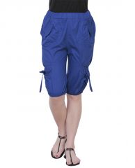 Women's Clothing - THE RUNNER Royal Blue Cotton Capri CP-004