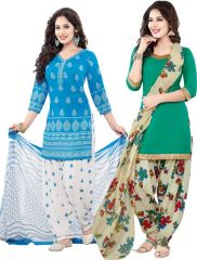 Elegant Crepe Designer Printed  Pack of Two Unstitched Dress Material Suit(Code-COMBO14)