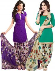 Elegant Crepe Designer Printed  Pack of Two Unstitched Dress Material Suit.(Code-COMBO11)