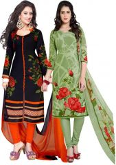 Elegant Crepe Designer Printed  Pack of Two Unstitched Dress Material Suit(Code-COMBO12)