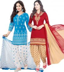 Elegant Crepe Designer Printed Pack of Two Unstitched Dress Material Suit(Code-COMBO25)