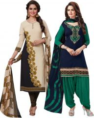 Elegant Crepe Designer Printed Pack of Two Unstitched Dress Material Suit(Code-COMBO26)